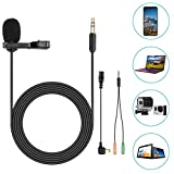 Neewer Lavalier Lapel Microphone - Compatible with GoPro Hero 4 3+ 3 2 1 Hero Session - iPhone - Smartphone and PC for Ultra-Crisp Sound Capture with Phone Adapter and Wind Muff C6 feet 1.8 meters