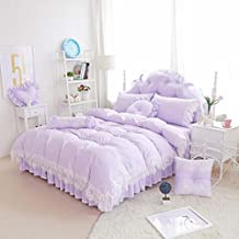 L&QQ Cotton quilt pastoral princess lace bed skirt spring and summer cotton bedding suite a family of four , i
