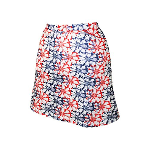 - Monterey Club Ladies' Dry Swing Floral Stamp Double Waistband Skort #2915 (Navy/Red, Large)