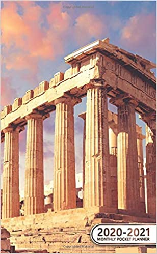 Temple Calendar 2020-2021 2020 2021 Monthly Pocket Planner: Acropolis, Athens, Greece Two