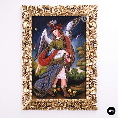 Archangel Uriel, Colonial replica Painting from Peru, Cuzco Painting on Wood, Gold Hand-carved Wood Framed, wall art Religious Paintings