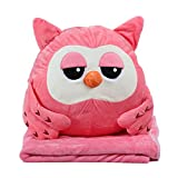 Alpacasso 3 In 1 Cute Cartoon Plush Stuffed Animal Toys Throw Pillow Blanket Set with Hand Warmer Design. (Pink Owl)