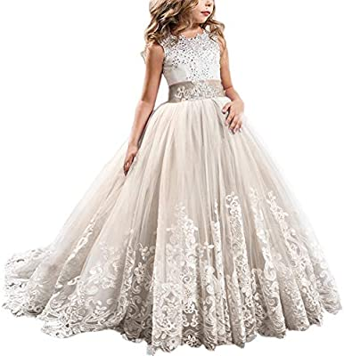 Fymnsi Flowers Girls Applique Tulle Lace Wedding Dress First