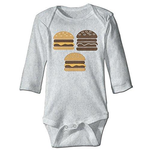Itongquy Three Hamburgers Fashion Newborn Baby Suit Climb(Long Sleeve) 6 M Ash