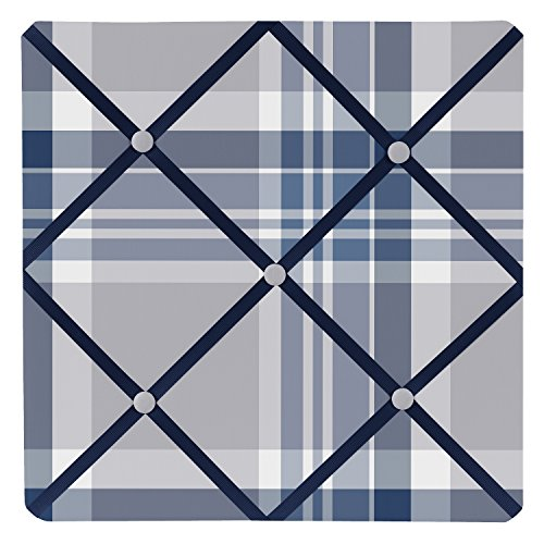 Sweet Jojo Designs Fabric Memory/Memo Photo Bulletin Board for Navy Blue and Gray Plaid Collection by Sweet Jojo Designs