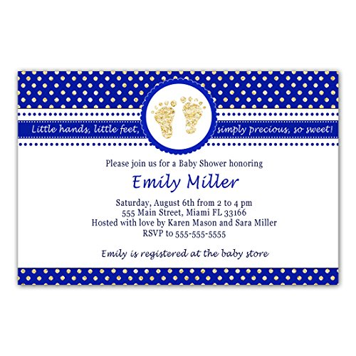 Customised Stationery - 30 Invitations Boy Baby Shower Royal Blue Gold Footprints Personalized Photo Paper