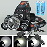 5000LM 3x XM-L T6 LED Headlamp 2 Battery 2 Charger Headlight Rechargeable for Camping Hiking Fishing Lanterns