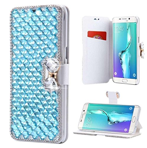 Galaxy Note 8 Wallet Case,Inspirationc and Made Luxury 3D Bling Crystal Rhinestone Leather Purse Flip Card Pouch Stand Cover Case for Samsung Galaxy Note 8--Light Blue