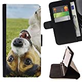 - Funny Cute Jack Russell Dog Puppy/ Personalized Design Custom Style PU Leather Case Wallet Flip Stand - Cao - For Samsung Galaxy J3