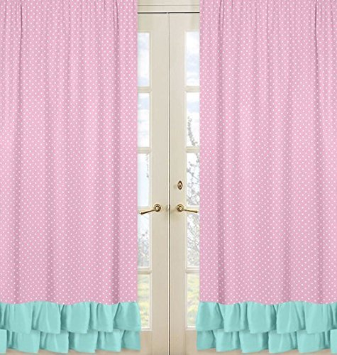 Sweet Jojo Designs 2-Piece Pink Polka Dot and Turquoise Girls Window Treatment Panels for Skylar Bedding Collection
