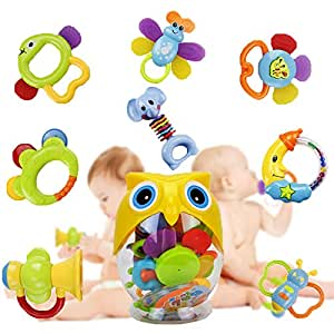 Teether Rattle Set Baby Toy - Earsoon SLE84822 (2018 New Design)8pcs Latest Rattle & Teether Toys with Adorable Color in Owl Bottle Christmas Gift for Newborn Baby