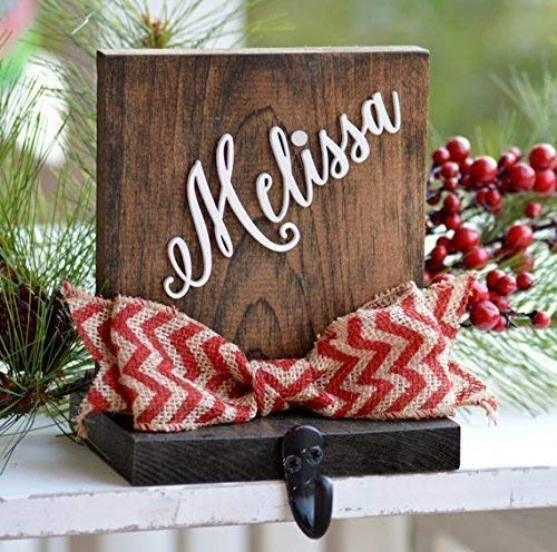 Personalized Christmas Stocking Holder For Mantle Or Fireplace, Rustic Stocking Holder -