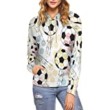 InterestPrint Women Hoodie Sweatshirt Grunge Soccer Balls Pullover Pocket L