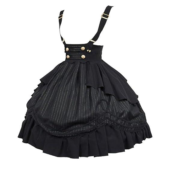 fengduo Mujer Retro Medieval Vestido Victoria Renacentista Midi Falda Cintura Alta Ajustable Correa Falda Elegante Lolita Traje de Cosplay para ...