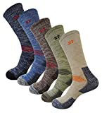 5Pack Men's Multi Performance Cushion Hiking/Outdoor Crew Socks Large 5Pair Assortment