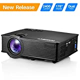 Projector, PHONECT 2400 LUX 4Inch Mini Projector with 170'' Display Portable LED Video Projector Support Full HD 1080P Home Theater Movie Projector Work with Amazon Fire Stick HDMI USB SD Card VGA AV