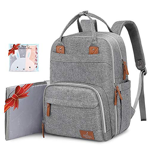 Diaper Bag Backpack, BabbleRoo Neutral Travel Back Pack for Mom & Dad, Large Capacity Waterproof Baby Nappy Changing Bags for Boys & Girls, Multifunction & Stylish, Gray]()