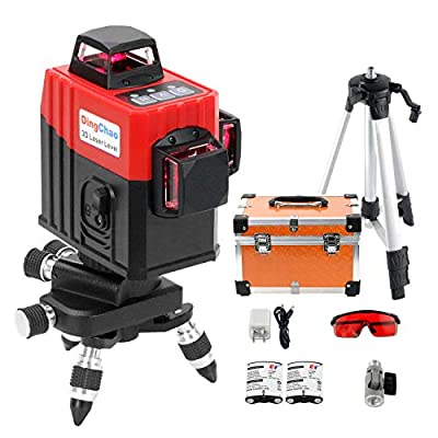 DINGCHAO Construction Laser Level 360 with Tripod,3 x 360 Line Laser Three-Plane Alignment Leveling Red Beam Self-Leveling Horizontal Vertical laser,Micro-Adjust Pedestal Base and Battery Included