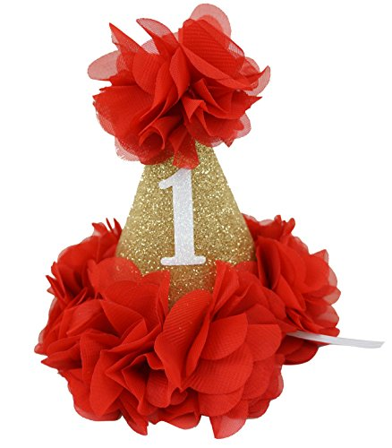 [PoshPeanut Beautiful Baby Crown Headband Princess First Birthday Cone Hat Gold and Red Made in the] (Red Felt Cowboy Hat With Band)