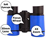 Toy Binoculars for Kids in Carrying Case perfectly fits - Great Gift for Boys and Girls and also Toddlers Twins - for Party Pretend Play Outdoors and Travel Trips - Blue - by Zeinum