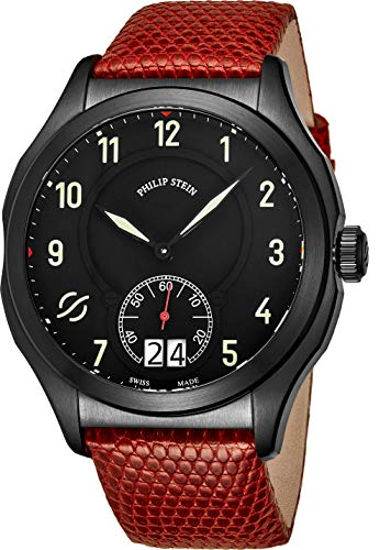 Philip Stein Prestige Big Date Mens Black Stainless Steel Watch - Swiss Made with Luminous Hands and Numbers Red Leather Band - Natural Frequency Technology Provides More Energy and Better Sleep