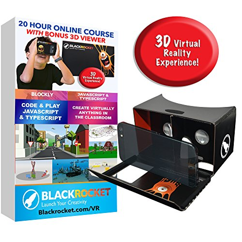 Make Your Own 3D Virtual Reality Games - Includes VR Cardboard Headset Goggles - Block Coding for Kids - 20 Hour Course - Compatible with PC, MAC, and Chromebooks - Ages 10+ (Phone not Included)
