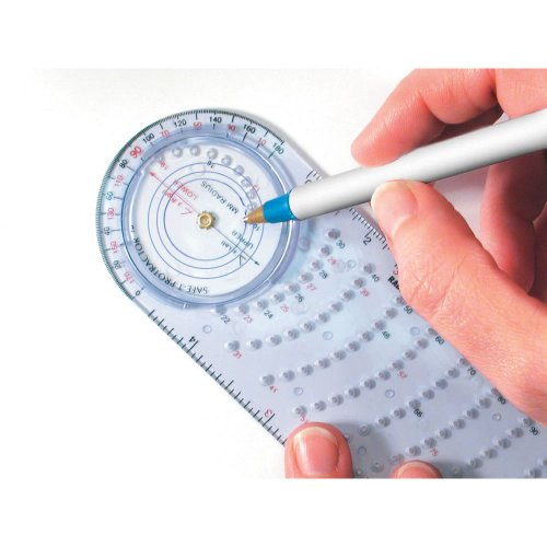 Safe-T mmArc Clear Protractor Compass Plus, 15.8 cm Long, Bulk Set for Classroom Geometry (Pack of 12) by ETA hand2mind (Image #2)