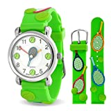 Bling Jewelry Green Analog Tennis Sports Kids Watch Stainless Steel Back