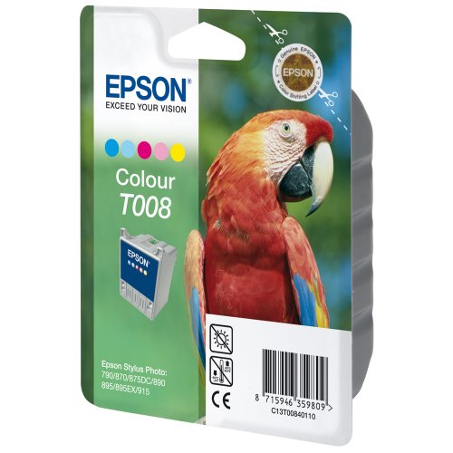 Genuine Epson T008 Tri-Color Ink Cartridge T008201 Sealed Bag Guarantee; 870 (Epson Stylus Photo 870)