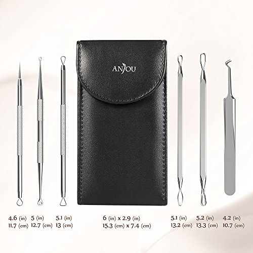 Anjou Blackhead Remover Comedone Extractor, Curved Blackhead Tweezers Kit, 6-in-1 Professional Stainless Pimple Acne Blemish Removal Tools Set, Silver