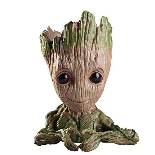 Flowerpot Treeman Baby Groot Succulent Planter Cute Green Plants Flower Pot with Hole Pen Holder (Heart) -
