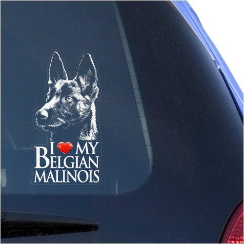 I Love My Belgian Malinois Clear Vinyl Decal Sticker for Window, Mechelaar Shepherd Dog Sign Art Print (Belgian Malinois Sticker)