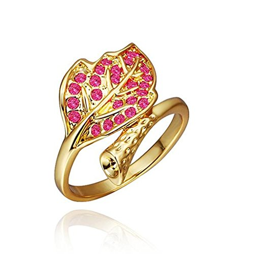 AmDxD Jewelry Gold Plated Women Rings Gold Leaf Pink CZ Size 8