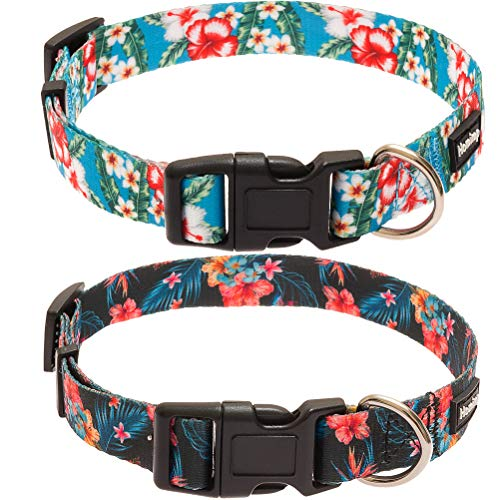 HOMIMP Hawaiian Dog Collar-2 Packs Fashion Nylon Floral Print Puppy Collars,for Daily Outdoor Activity or Summer Party