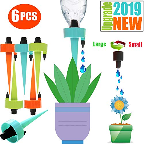 (Adjustable Self Watering Spikes.Indoor Outdoor Plastic Bottle Garden Plants Drip Irrigation Spike System. Works as Watering Bulbs or Globes Stakes with Screw Valve 6 Pack)