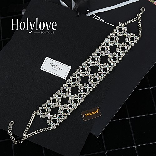 Holylove Crystal Chunky Choker Wide Chain Bib Collar Statement Necklace-HLN47 Crystal by Holylove (Image #2)
