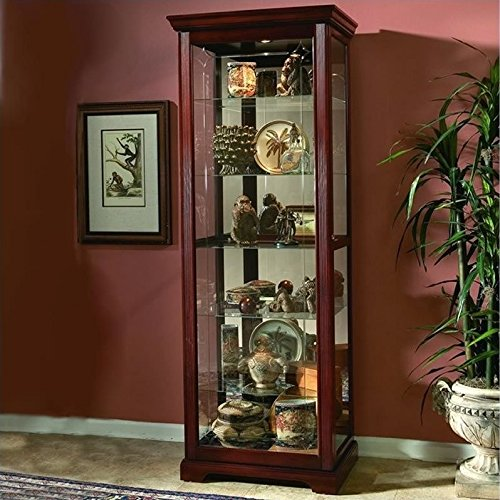 Pulaski Two Way Sliding Door Curio, 30 by 20 by 80-Inch, Victorian Cherry Finish, Brown