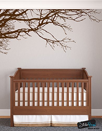 Family Tree Wallpaper - Large Tree Wall Decal Sticker - Semi-Gloss BROWN Tree Branches, 44in X 100in, Left To Right. Removable, No Paint Needed, Tree Branch Wall Stencil The Easy Way.