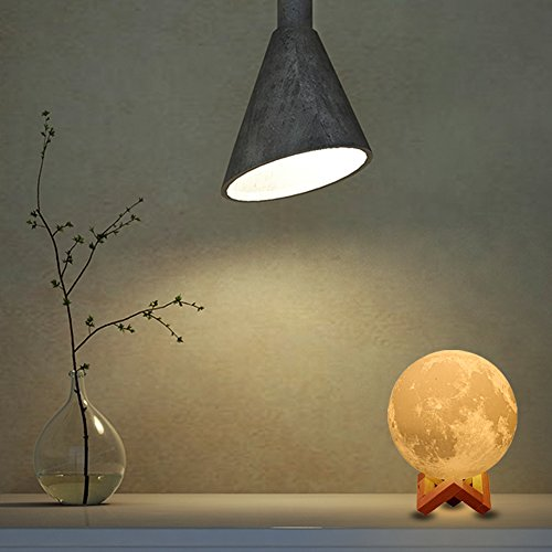[Upgraded Version] AMZLIFE 3D Printing LED Moon Lamp Lighting Night Light,Touch Sensor Switch 2 Brightness Changeable 3000k 6000k Lunar,USB Rechargeable Decorative Lights,Dimmable 5.9inch
