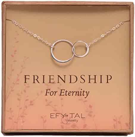 Efy Tal Jewelry Sterling Silver Friendship for Eternity Necklace, Two Interlocking Infinity Circles Gift for Best Friend