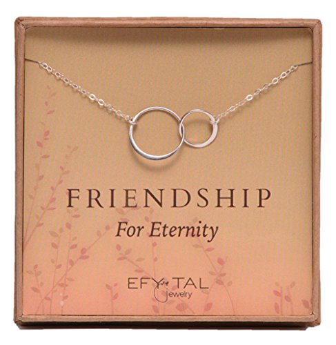 Sterling Silver Friendship for Eternity Necklace, Two Interlocking Infinity Circles Gift For Best Friend (Gift Reminder Service)