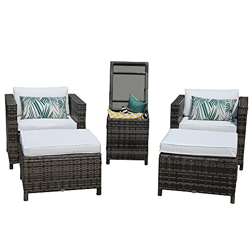 Armless Storage Chair - PATIOROMA Patio Furniture Sofa (5-Piece) All-Weather Grey PE Wicker Furniture with White Back Cushions & Non-slip Seat Cushions,Aluminum Top Storage Table| Patio, Backyard, Pool,Indoor|Steel Frame