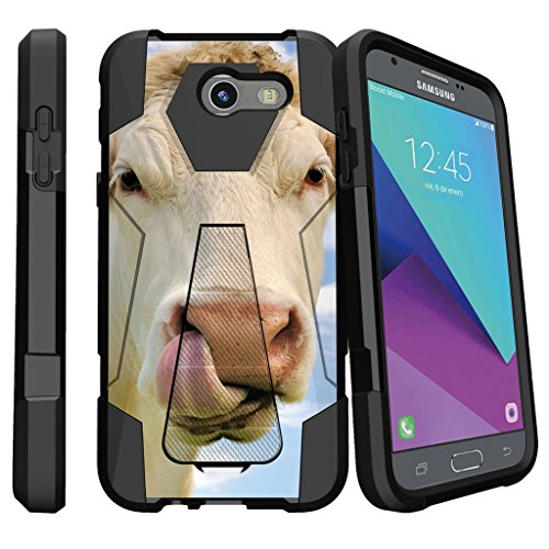 Rugged MINITURTLE Case Compatible w/Samsung Galaxy J3 Emerge, J3 Eclipse, Luna Pro SM-J327 [Shock Fusion Case with Kickstand and Hybrid Layers] - Cow Licking Nose ()