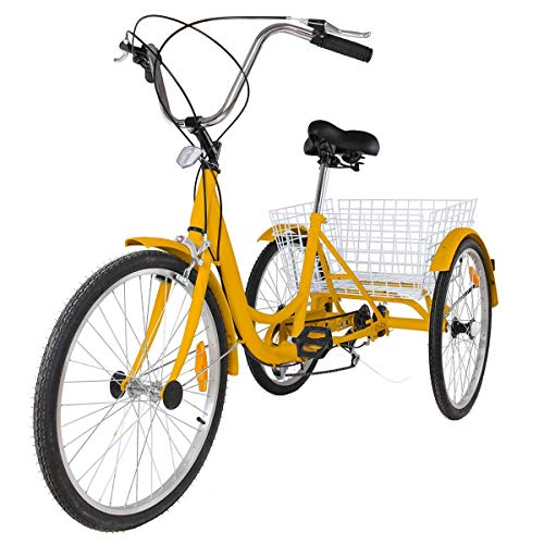 Happybuy 24 Inch Adult Tricycle Series 6/7 Speed Three Wheel Bike Adult Tricycle Trike Cruise Bike Large Size Basket for Recreation, Shopping,Exercise Men's Women's Bike (Yellow 7 Speed)