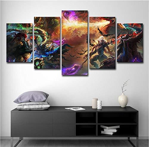 (HNFSSK Modern Inkjet Canvas Painting Hd Game Fantasy Dragon Sword Axe Art Battle Hero Decorative Art)