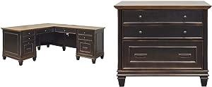 Martin Furniture Hartford L-Shaped Desk, Brown & Furniture Hartford Lateral File Cabinet, Brown - Fully Assembled