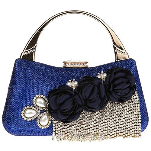 Party 5 Bag EDLUX Bag Evening 19 Shoulder Floral Shape for Leather 18cm PU with Blue Women Tassel Buckle Blue Banquet and Ladies Metallic Handbag qq6CwY