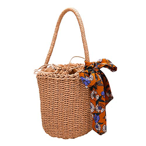 - Handwoven Straw Handbag Bucket Tote bag Casual single rope With Silk Ribbon Beach Bag