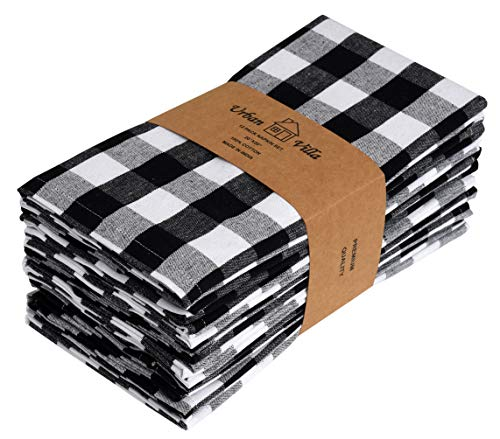 Urban Villa Dinner Napkins, Everyday Use,Premium Quality,100% Cotton, Set of 12, Size 20X20 Inch, Black/White Oversized Cloth Napkins with Mitered Corners, Ultra Soft, Durable Hotel Quality ()
