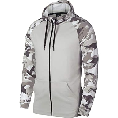 e838e696e4b Nike Mens Full Zip Camo Dryfit Fleece Hoodie Vast Grey White Camo AQ1138-